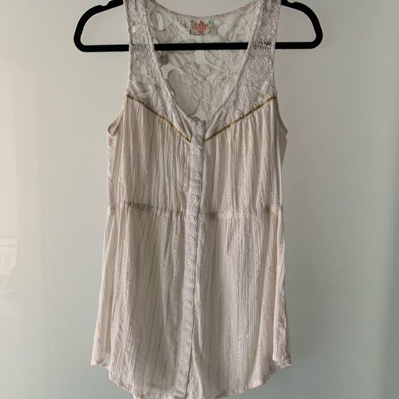 Free People White and Gold Tunic